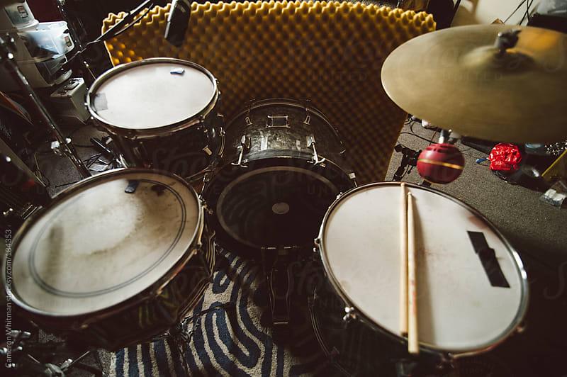 Drum Kit in bedroom studio by Cameron Whitman for Stocksy United