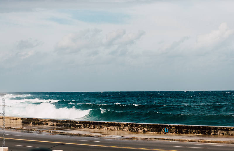 Waves hitting the Malecon,Havana by Natasa Kukic for Stocksy United