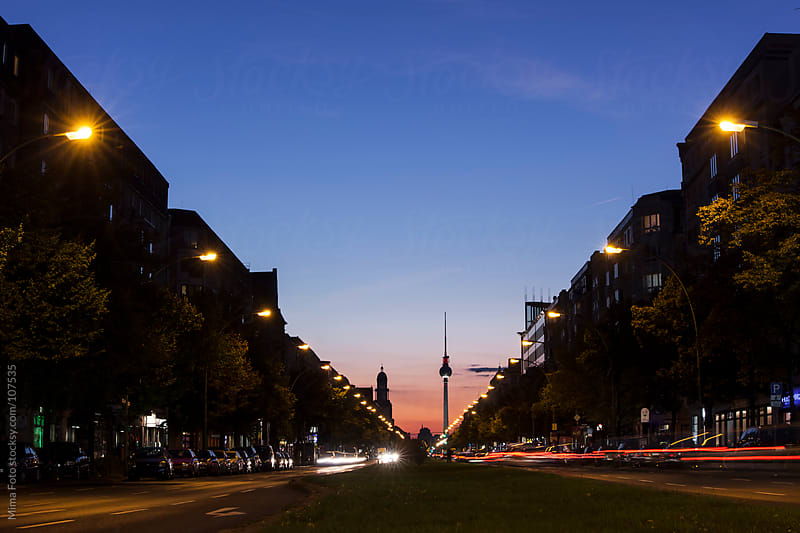 Berlin traffic at night by Mima Foto for Stocksy United