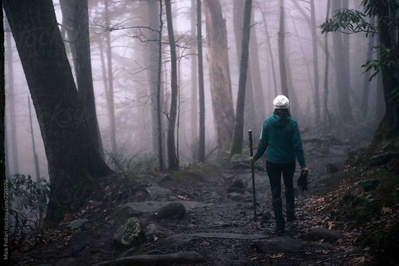 Hiker in dark forest with fog by Mick Follari for Stocksy United