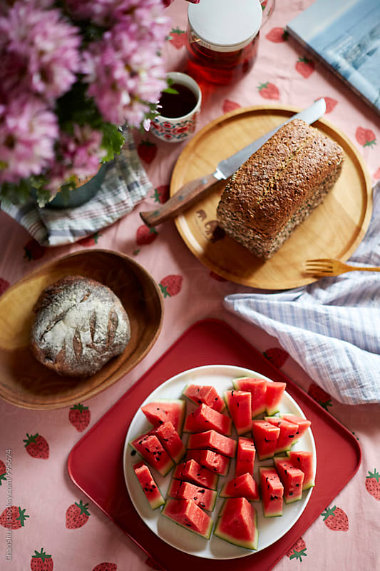 Good afternoon tea time, bread, food and fruit on the table by ChaoShu Li for Stocksy United