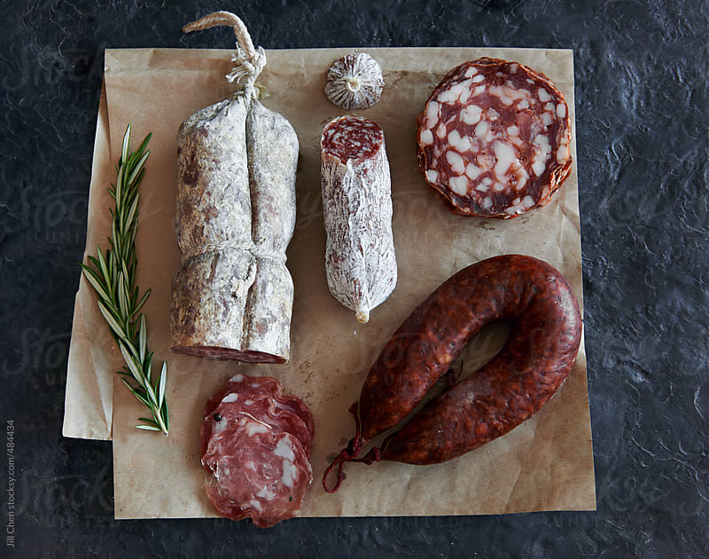 Charcuterie cured meat selection by Jill Chen for Stocksy United