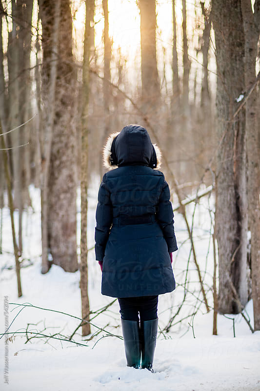 Woman in the Woods at Sunset by Jeff Wasserman for Stocksy United