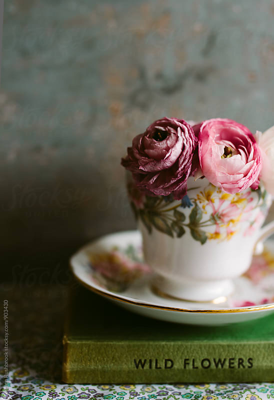 PinkRanunculus flowers in a vintage teacup. by Helen Rushbrook for Stocksy United