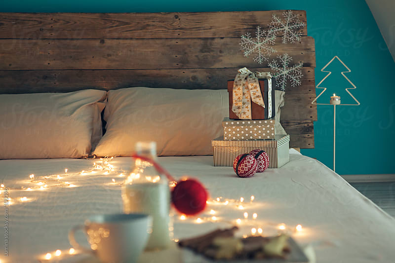 Bedroom Decorated for Christmas by Lumina for Stocksy United