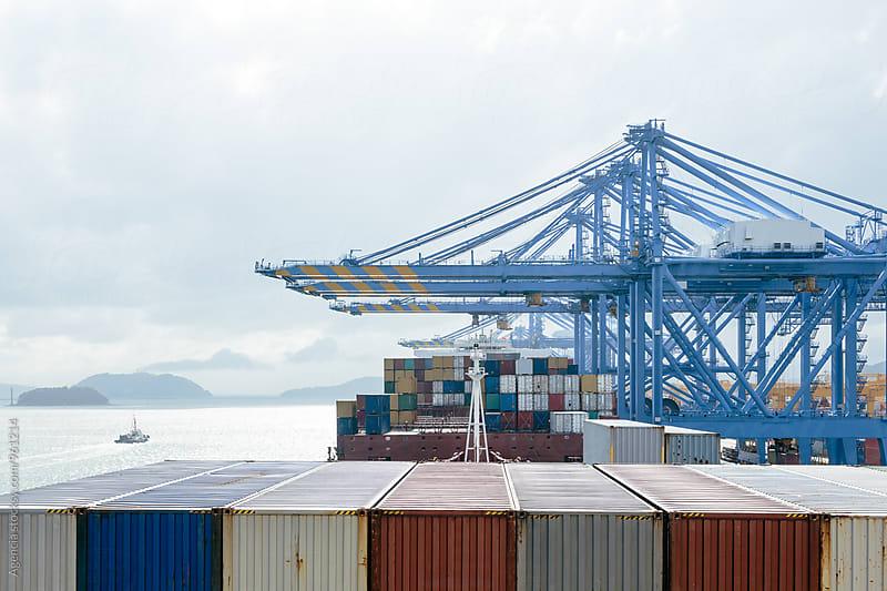 Cargo Ship Loading by Agencia for Stocksy United