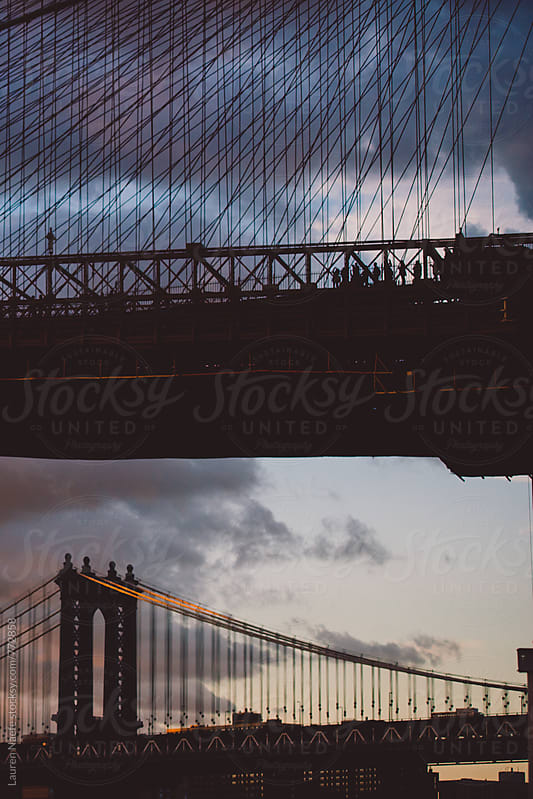 Walking across Brooklyn Bridge by Lauren Naefe for Stocksy United