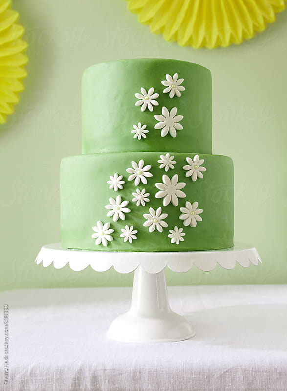 two tiered green cake with white flowers on white table and green background by Sherry Heck for Stocksy United