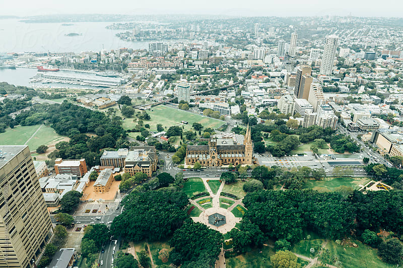 Aerial view on Australian city iconic park by Trent Lanz for Stocksy United