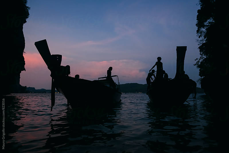 Boats after sunset. Thailand by Mauro Grigollo for Stocksy United