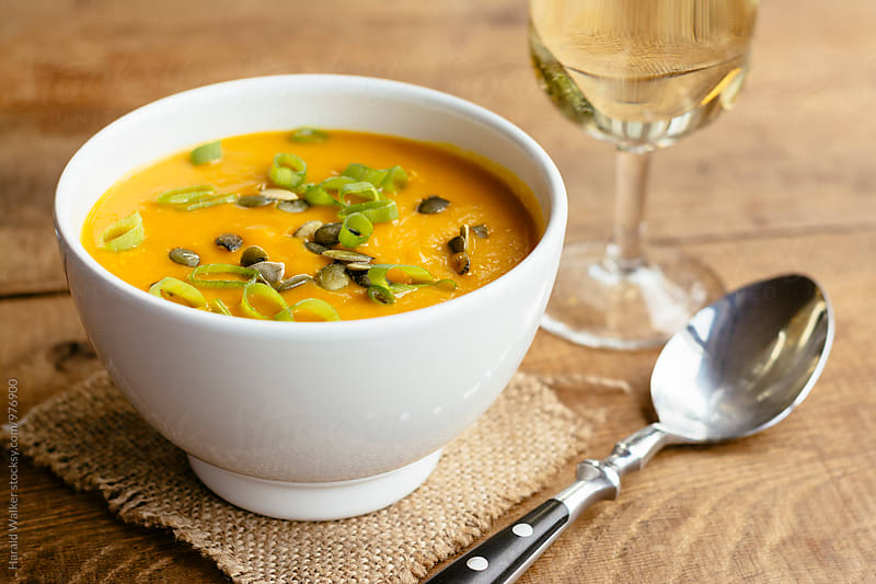 Mango Winter Squash Soup by Harald Walker for Stocksy United