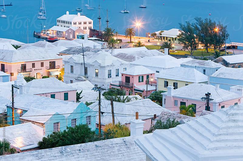 Bermuda, Atlantic Ocean, St George's Parish, historic town of St. George, elevated view over the harbour and white stone roofed pastel coloured buildings - UNESCO World Heritage Site by Gavin Hellier for Stocksy United