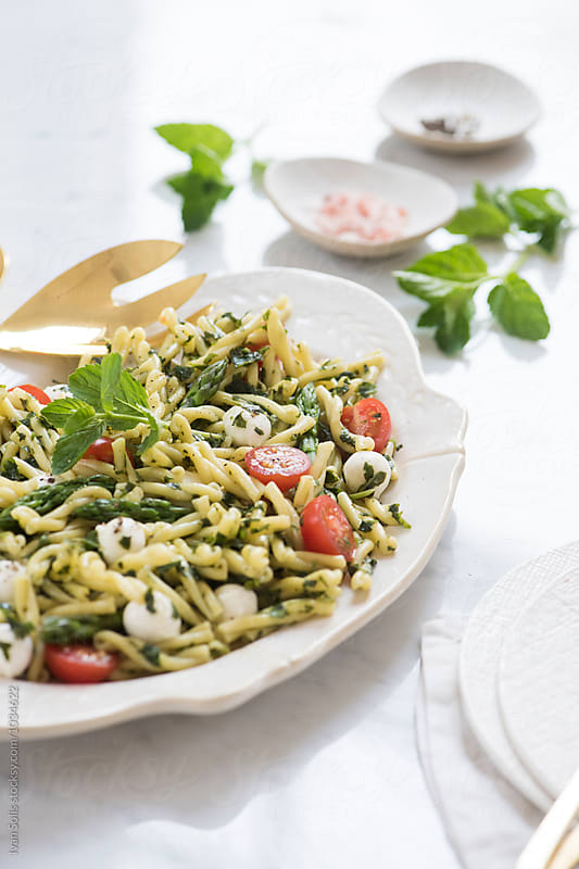 Gemelli pasta salad by Ivan Solis for Stocksy United