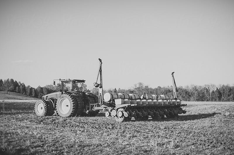 Integral Planting Tractor On an Open Field by Cameron Whitman for Stocksy United