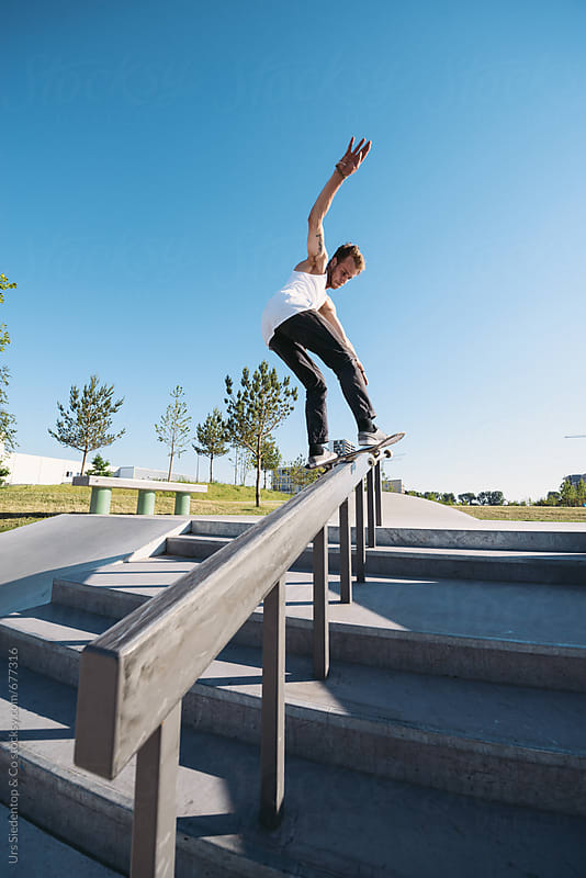 skateboard stair rail grind by urs siedentop co grind. Black Bedroom Furniture Sets. Home Design Ideas