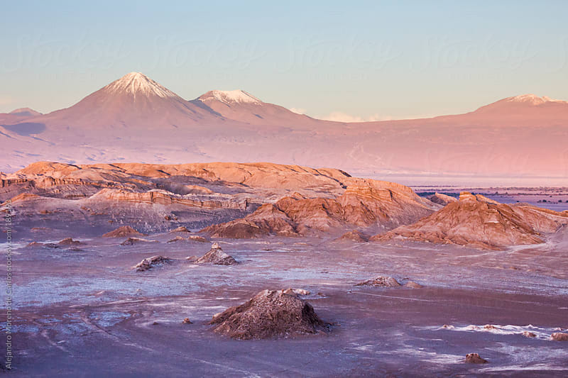 Desert landscape with mountains and rocks in Valley of the moon, Chile by Alejandro Moreno de Carlos for Stocksy United