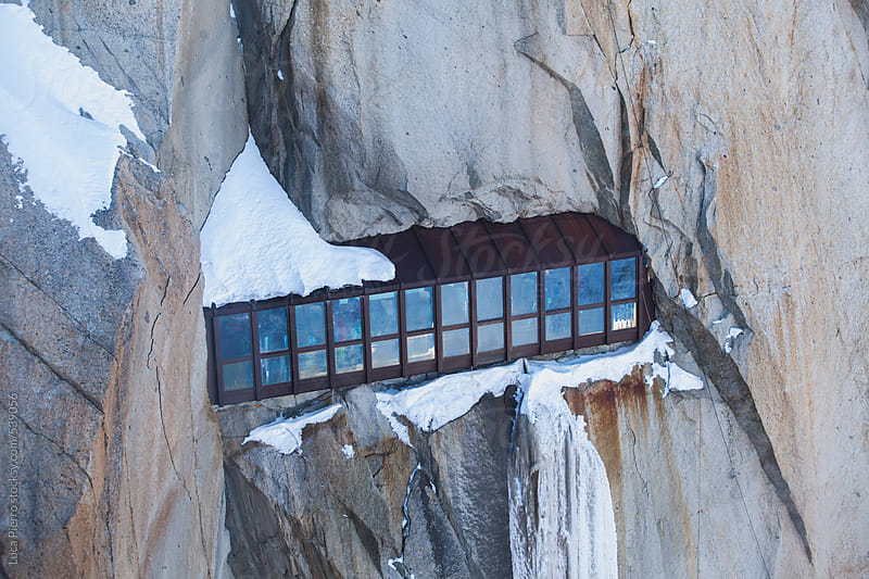 Tunnel dig into the rock at  Aiguille Du Midi, France by Luca Pierro for Stocksy United