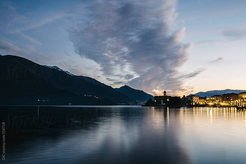 Town on Lake Como at twilight by GIC for Stocksy United