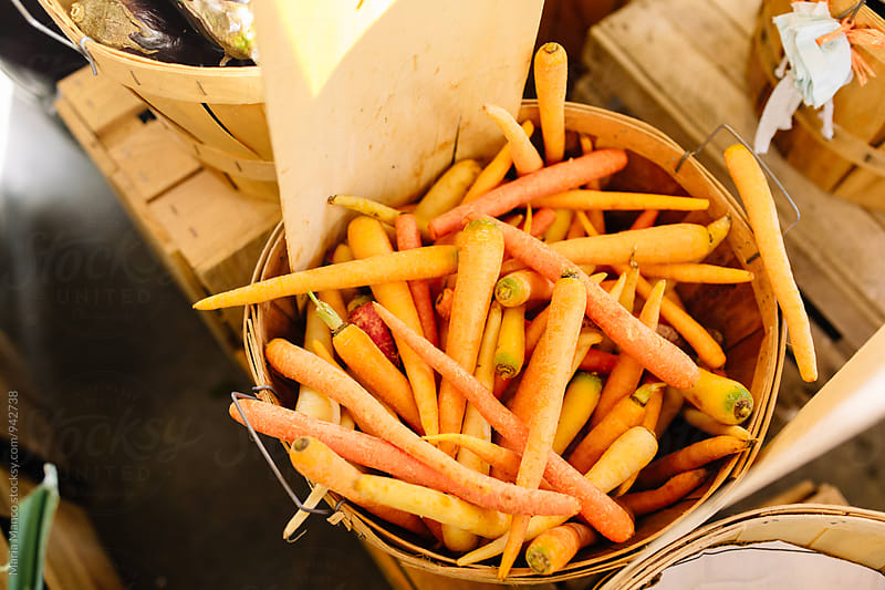 Bushel of carrots at farmers market by Maria Manco for Stocksy United