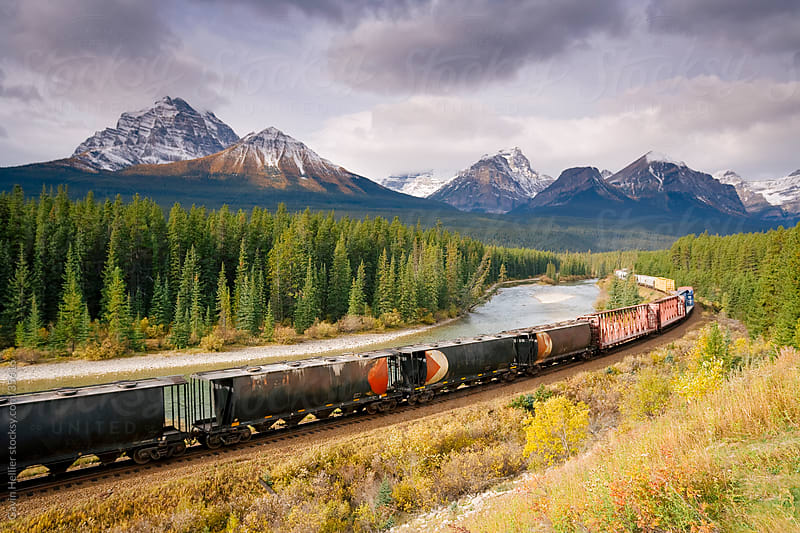 Morants Curve, Bow River, Canadian Pacific Railway, near Lake Louise, Banff National Park, UNESCO World Heritage Site, Alberta, Rocky Mountains, Canada, North America by Gavin Hellier for Stocksy United