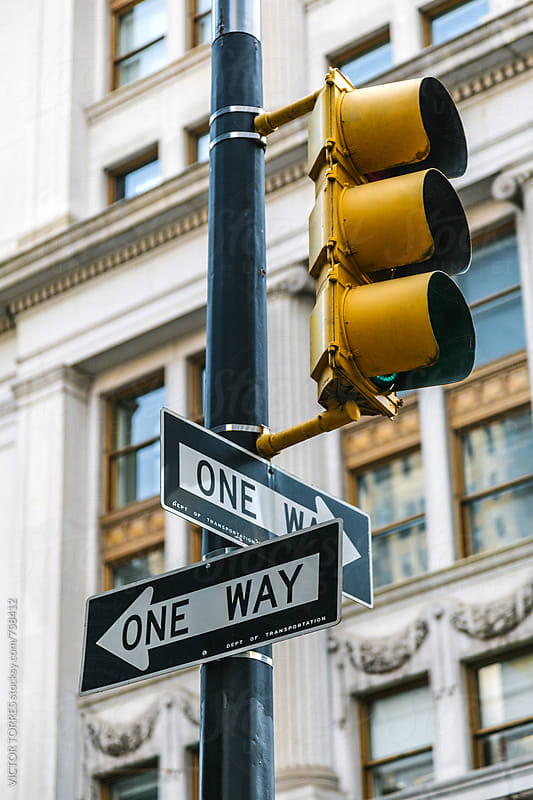 Red Hand Symbol in a Manhattan Traffic Light, New York by VICTOR TORRES for Stocksy United