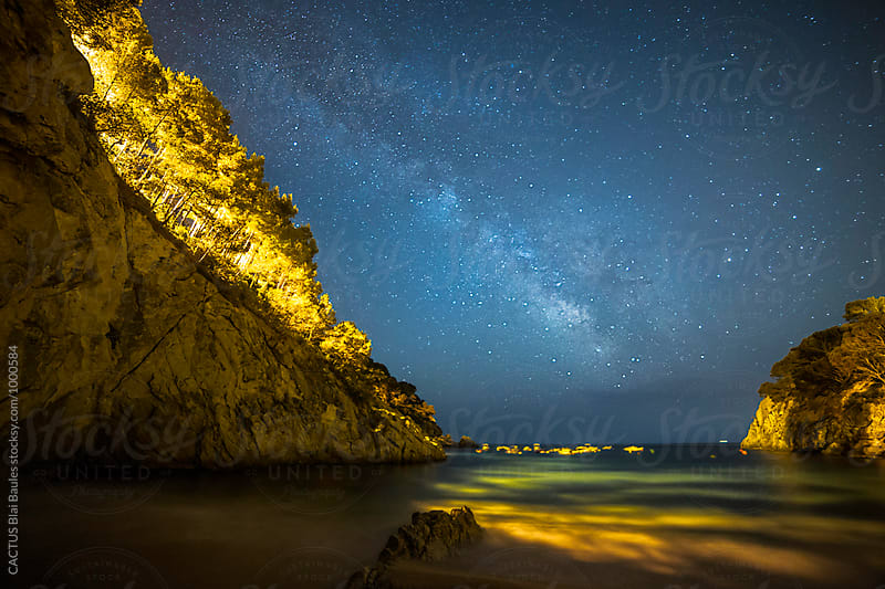 Milky way view from the beach by CACTUS Blai Baules for Stocksy United