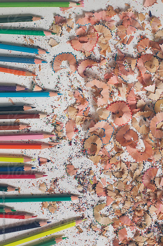 Colorful pencils with shavings by Dejan Ristovski for Stocksy United