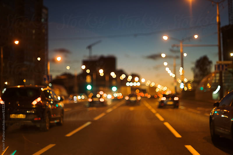 bokeh effect on the road in Minsk by Javier Pardina for Stocksy United