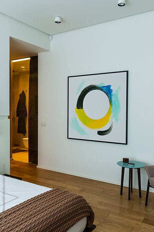 Modern bedroom in contemporary interior by Aleksandar Novoselski for Stocksy United