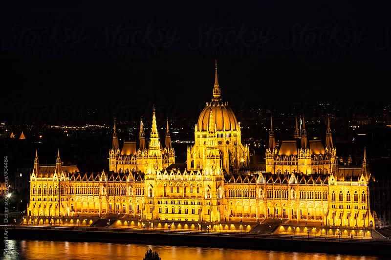 Budapest Night Skyline. by Mental Art + Design for Stocksy United
