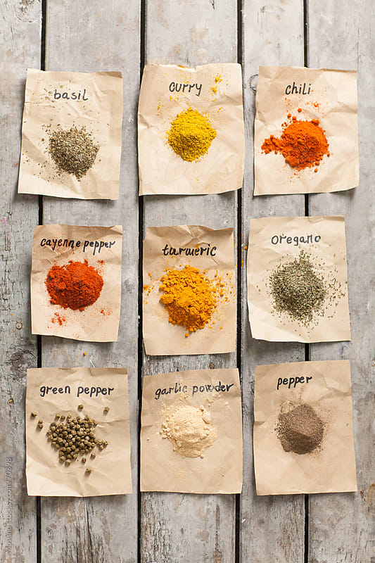 Overhead View of a Colourful Spices by Mosuno for Stocksy United