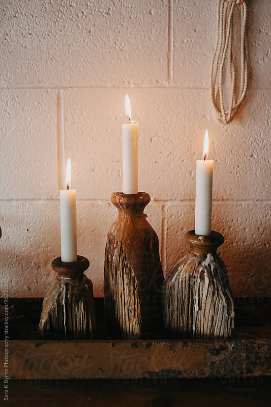 Wooden Candle Holders by Sara K Byrne Photography for Stocksy United