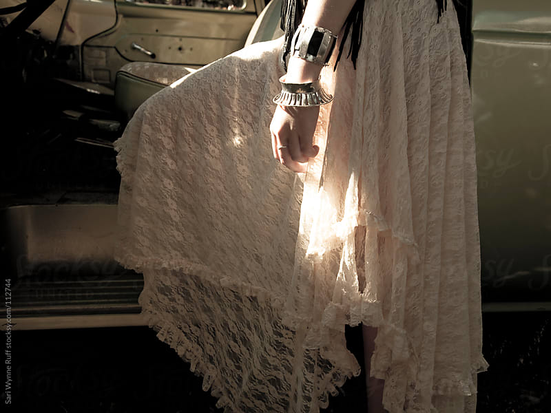 Lace Skirt With Bracelets and Sunlight by Sari Wynne Ruff for Stocksy United