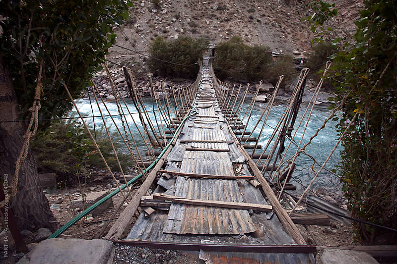 Hanging Rope made Bridge  with wooden path  by PARTHA PAL for Stocksy United