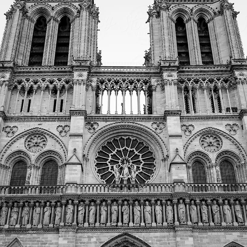 Black and White Vintage Film Medium Format Style Photograph of Notre Dame de Paris Front by JP Danko for Stocksy United