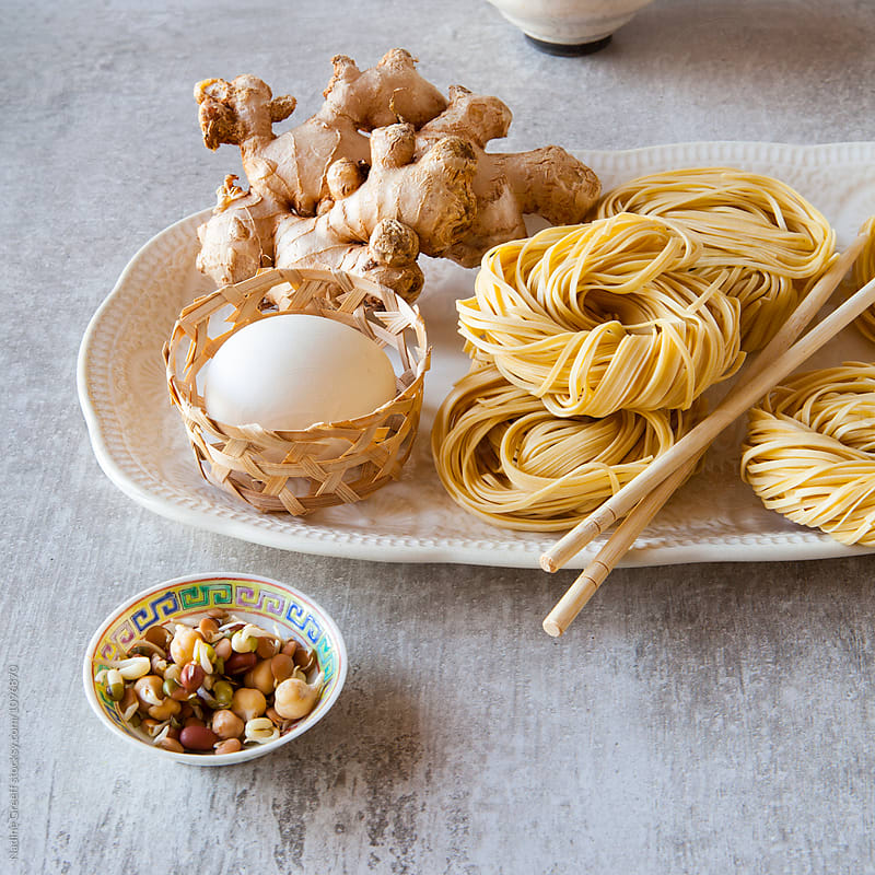 Noodles and asian food ingredients by Nadine Greeff for Stocksy United
