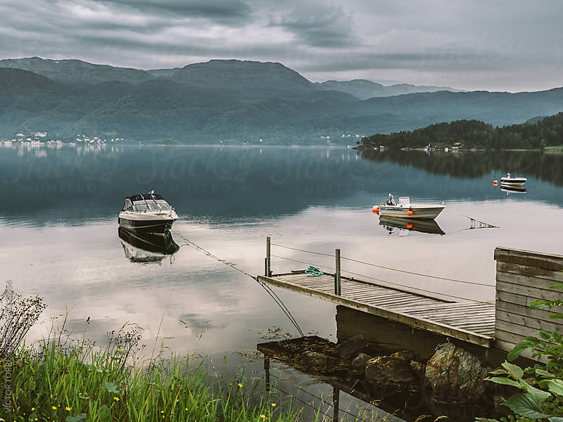 Small Dock in the Fjords by VICTOR TORRES for Stocksy United