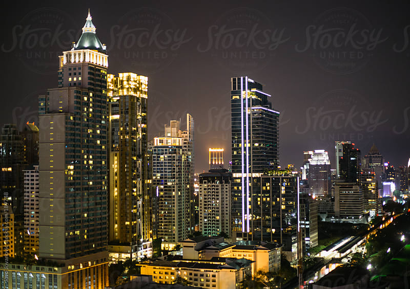 City of angels next to main street - skyline at night by Jovo Jovanovic for Stocksy United
