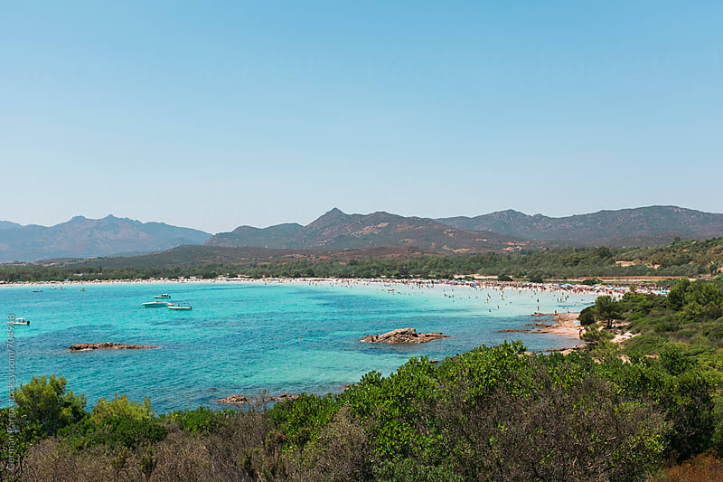 Panoramic view of Cala Brandinchi,  by German Parga for Stocksy United