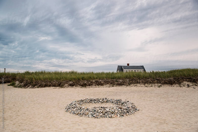 Beautiful Fire Pit on Cape Cod Beach by Raymond Forbes LLC for Stocksy United