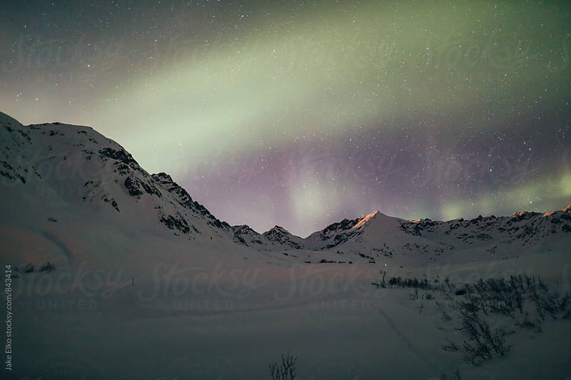 Beautiful Hatcher Pass Aurora by Jake Elko for Stocksy United