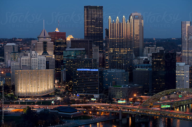 Pittsburgh Pennsylvania Downtown Skyline at Dusk by Jeff Wasserman for Stocksy United