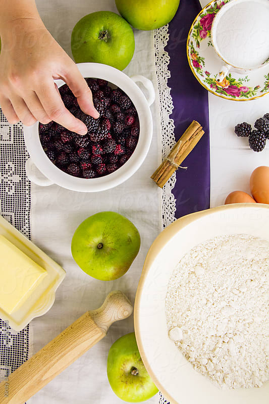Apple and Blackberry Pie Ingredients by Kirsty Begg for Stocksy United