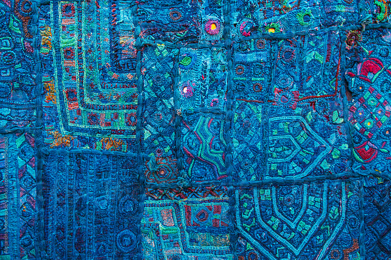 Blue colourful cloth with patterns and decoration. Rajasthan, India by Alejandro Moreno de Carlos for Stocksy United