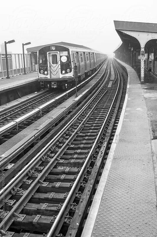 New York City subway train at a station by Mihael Blikshteyn for Stocksy United