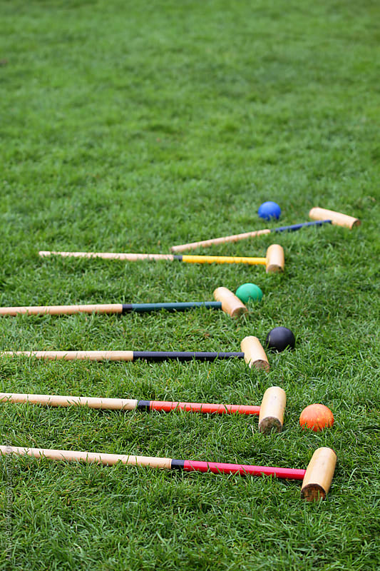 Vintage Croquet Equipment In A Green Lawn Ready For Play by ALICIA BOCK for Stocksy United