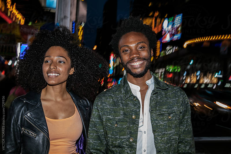 Afro American Couple Having Fun in the City by VICTOR TORRES for Stocksy United