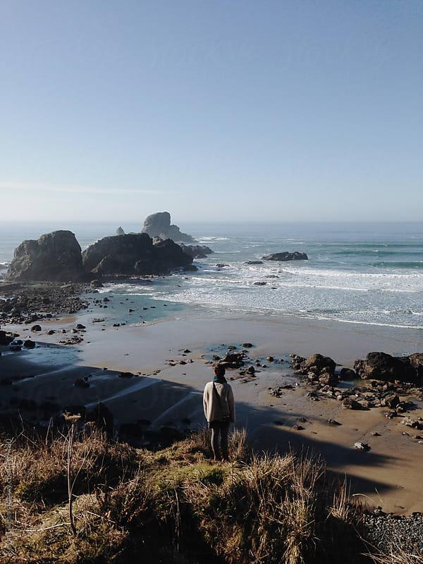 Girl Overlooks Ocean by Kevin Gilgan for Stocksy United