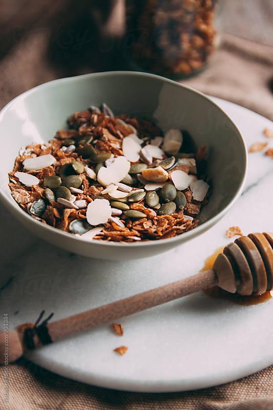 Muesli with almonds and sunflower seeds by Nataša Mandić for Stocksy United