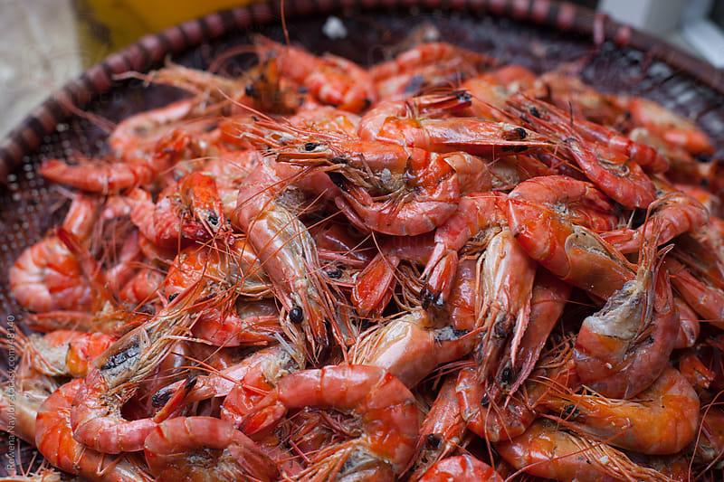 Shrimps for sale at ethnic market by Rowena Naylor for Stocksy United